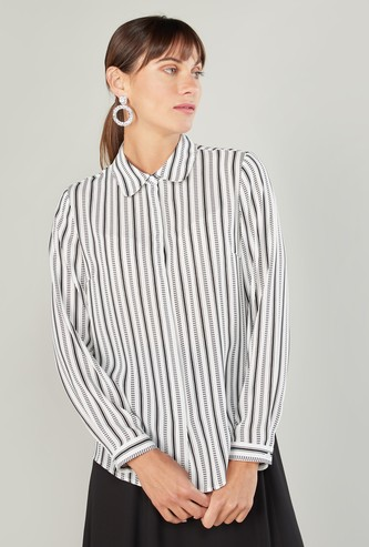 Striped Shirt with Collar and Long Sleeves