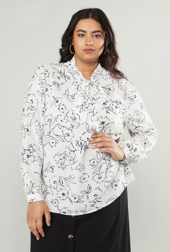 Printed Top with Long Sleeves and Pussy Bow