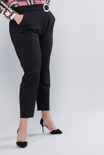 Cropped Plain Pants with Pocket Detail and Belt Loops