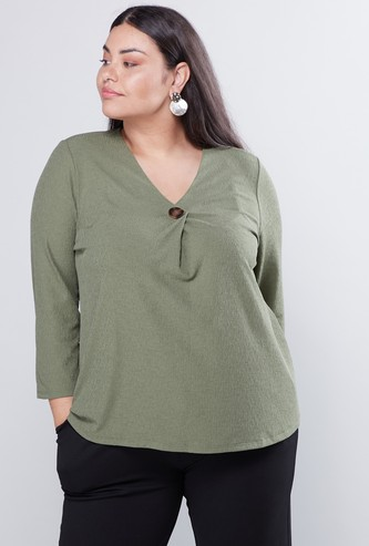 Textured V-Neck Top with 3/4 Sleeves and Button Accent