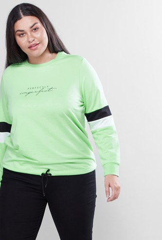 Printed Round Neck Sweat Top with Long Sleeves