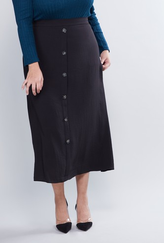 Plain Midi A-line Skirt with Elasticised Waistband