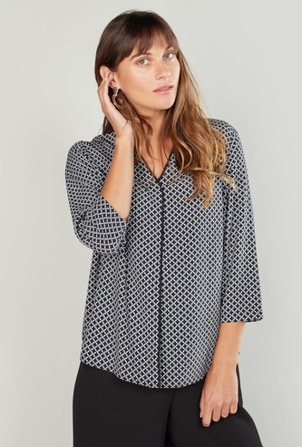 Printed Top with Mandarin Collar and 3/4 Sleeves