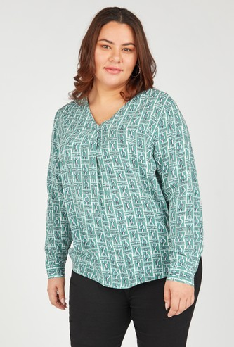 V-neck Top with Prints and Long Sleeves