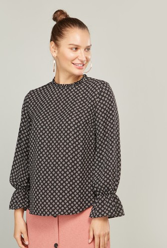 Print Top with Long Sleeves and Ruffle Detail