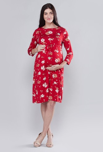 Maternity Printed Midi A-line Dress with Long Sleeves and Tie Ups