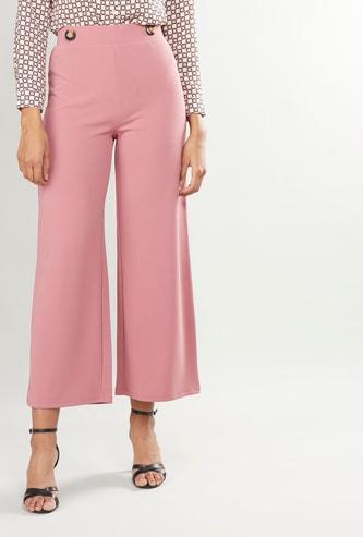 High Waist Solid Wide Leg Culottes