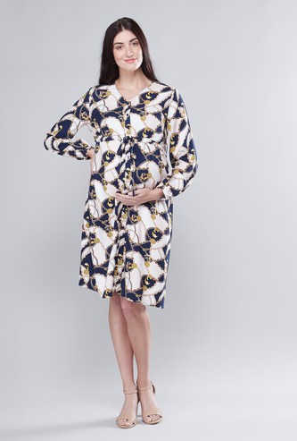Maternity Printed Midi A-line Dress with V-neck and Long Sleeves