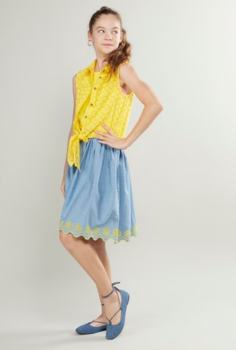 Textured Sleeveless Denim Dress with Knot Detail