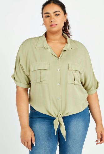 Solid Shirt with Short Sleeves and Flap Pockets