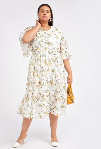 Floral Print Midi A-line Dress with V-neck and Short Sleeves