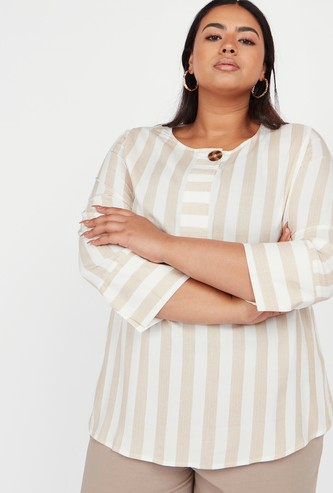 Striped Top with Round Neck and 3/4 Sleeves