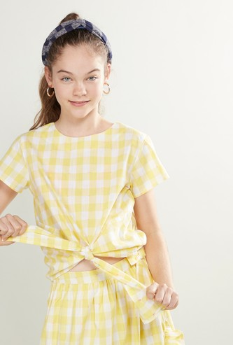 Checked Round Neck Top with Short Sleeves and Front Knot Detail