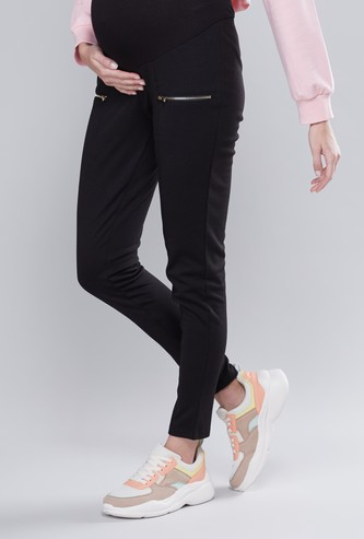 Maternity Plain Full Length Mid-Rise Ponte Leggings with Zip Detail