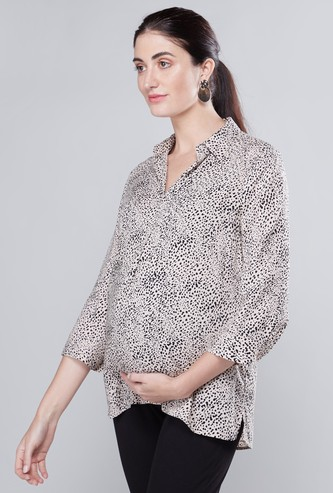 Printed Maternity Tunic with Spread Collar and 3/4 Sleeves