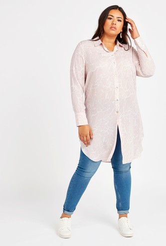 Printed Tunic Shirt with Long Sleeves and Spread Collar