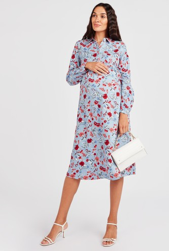 Maternity Floral Print Midi A-line Dress with Long Sleeves
