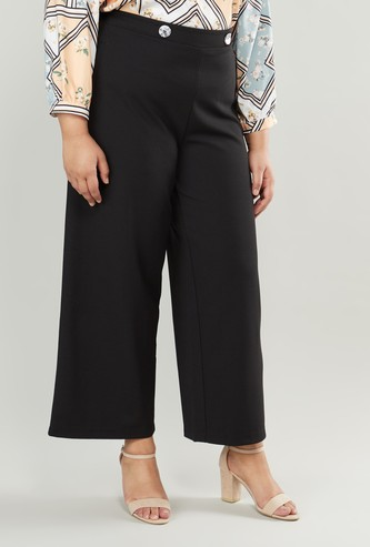 Plain Palazzo Pants with Elasticised Waistband
