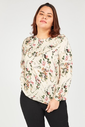 Floral Print Top with Round Neck and Long Sleeves