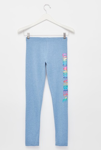 Placement Print Leggings with Elasticised Waistband