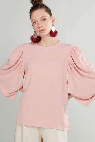Solid Ruffle Detail Top with Round Neck and 3/4 Sleeves