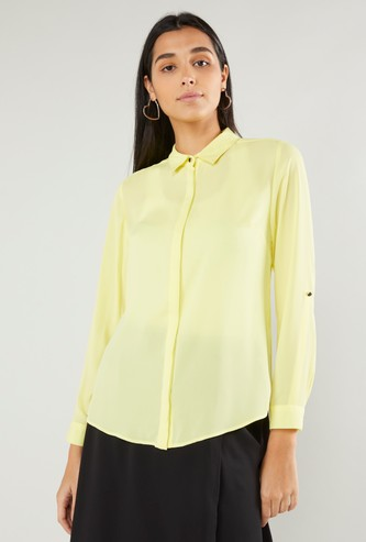Solid Shirt with Long Sleeves and Concealed Placket