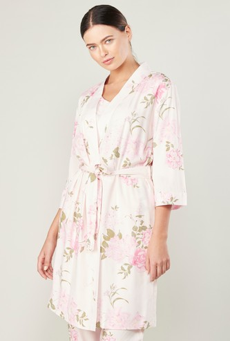 Floral Printed Robe with 3/4 Sleeves and Tie Ups