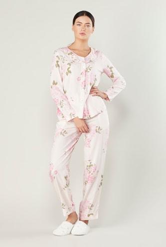 Floral Printed Long Sleeves Shirt and Pocket Detail Pyjama Set