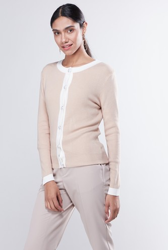 Solid Round Neck Cardigan with Long Sleeves