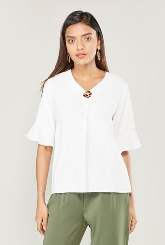 Solid V-neck Top with Bell Sleeves and Button Detail