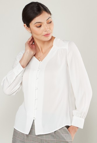 Solid Button-Down Shirt with Partial Collar and Long Sleeves