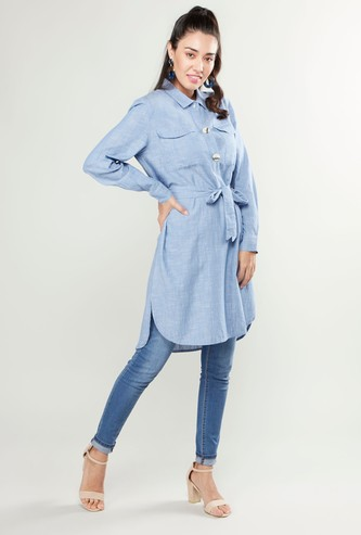 Solid Collared Tunic with Shell Buttons and Front Belt