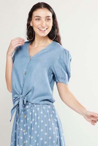 Solid V-neck Top with Puff Sleeves and Front Knot Detail