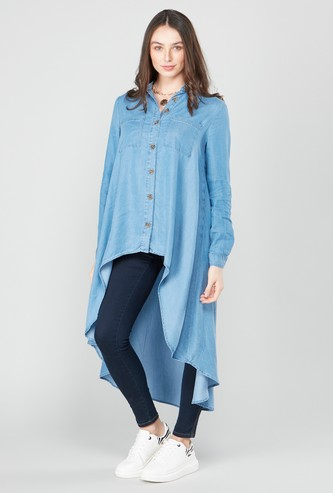 Asymmetric Top with Long Sleeves and Pocket Detail