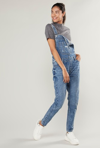 Full Length Denim Dungarees with Pockets