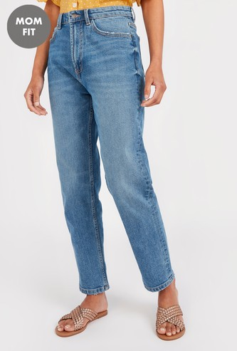 Mom Fit High-Rise Comfort Jeans with Button Closure