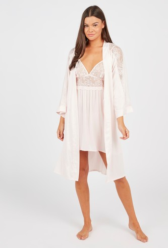 Lace Detail Robe with Long Sleeves and Tie Up