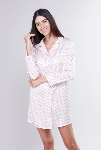 Printed Sleep Shirt Dress with Long Sleeves and Complete Placket