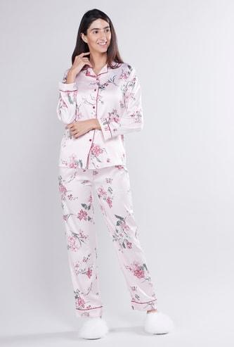 Floral Print Lapel Collared Shirt and Pyjama Set