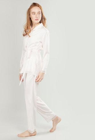 Lace Detail Long Sleeves Shirt and Full Length Pyjama Set