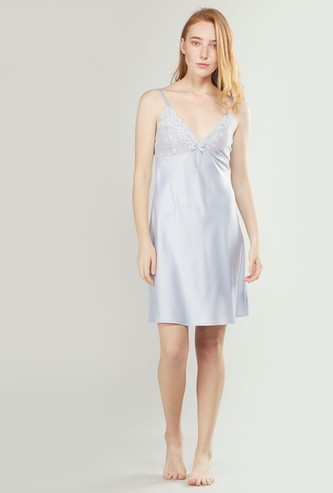 Sleeveless Chemise Dress with Lace Detail