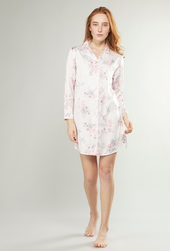 Printed Sleep Dress with Spread Collar and Long Sleeves