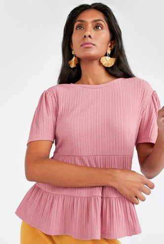 Textured Top with Ruffle Detail and Short Sleeves