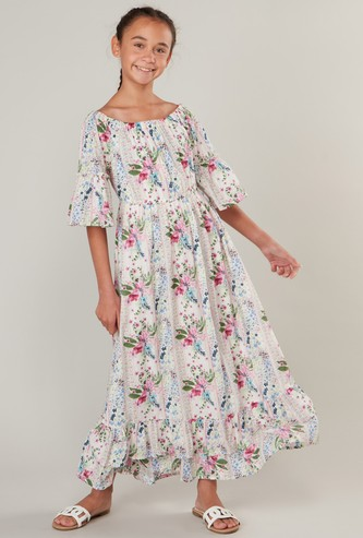 Floral Print Dress with Boat Neck and Short Sleeves