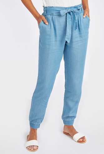 Solid Denim Jog Pants with Pocket Detail and Tie Ups