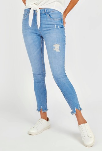 Skinny Fit Mid-Rise Ripped Denim Jeans in Electric Blue Wash