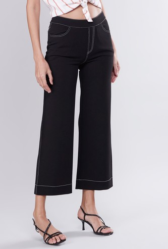 Plain Mid-Rise Culottes with Pocket Detail