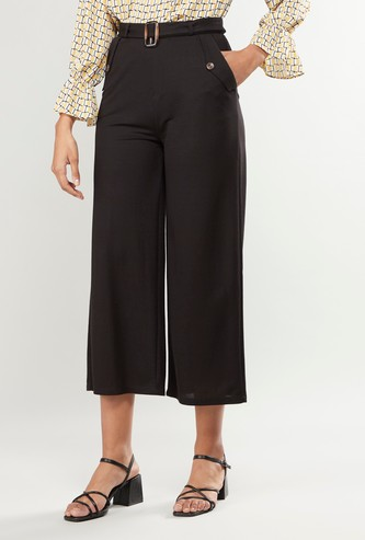 Plain Mid-Rise Palazzo Pants with Belt and Elasticised Waistband