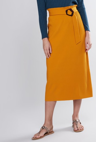 Pleated A-Line Midi Skirt with Belt Detail
