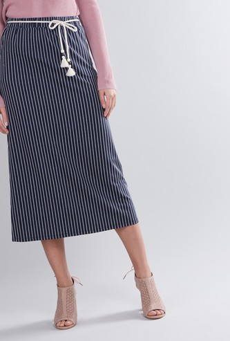 Striped A-Line Midi Skirt with Pocket Detail and Tie Ups
